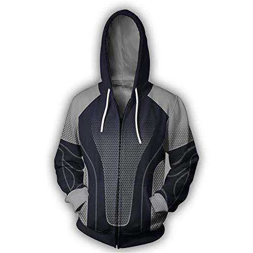 RJHWY 3D Hoodie Sweatshirt Unisex Pullover Kapuzenjacke Kleidung Mantel Reißverschluss Anime Top The Hunger Games XS (Hunger Games Kostüm Mann)