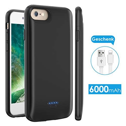 Licheers Akku Hülle für iPhone 6/6S/7/8 Plus, tragbare 6000mAh Battery Case für iPhone 6/6S/7/8 Plus (5,5 Zoll) Akku Case Ladehülle (Schwarz) (Battery Plus Case Sechs)