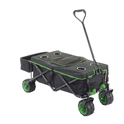 Mendler Faltbarer Bollerwagen HWC-E62, Handwagen, Geländereifen klappbar ~ mit Hecktasche/Abdeckung + Kühltasche schwarz/grün