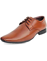 Axonza Mens' Tan 415 Lace Up Office/Party Wear Synthetic Leather Formal Shoes