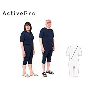 Pflegeoverall für Frauen und Männer; slim kurz mit Bein- und Rückenreißverschluss; Demenz Overall; ActivePro