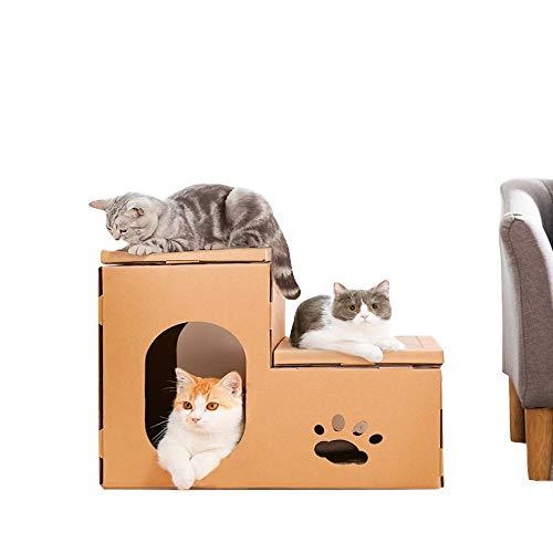 zenkratzbrett aus Wellpappe von Double Cat House, Kitty Scratching Lounge im Innenbereich, Spielplatz und Aktivitätscenter, gelb, 50,5 * 44 * 32 cm ()