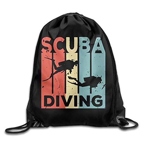 Scuba Diving Vintage Drawstring Backpack Bag Beam Mouth School Travel Backpack Rucksack Shoulder Bags for Men & Women -