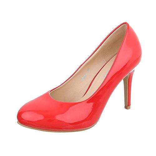 Ital-Design High Heel Pumps Damen-Schuhe High Heel Pumps Pfennig-/Stilettoabsatz High Heels Pumps Rot, Gr 38, 59819-
