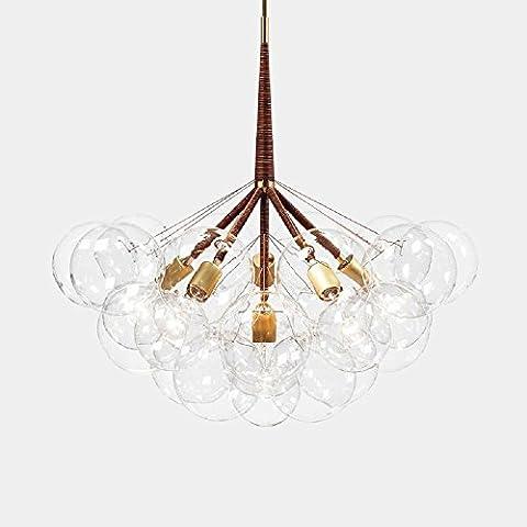 Lustre plafonnier de style moderne et élégant en métal couleur or avec abat-jours en verre E27 Lampe Suspension Lustre Verre cordon de montage Ceiling Pendant Lampe Edison 3 Lights 9 Boules de Verre