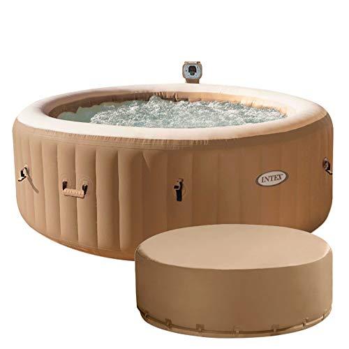 Intex 28474EX - Spa hinchable Burbujas, color crema, 4 personas 795 litros, con cobertor Full SPA
