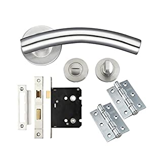 Handle Set Door Pack Bathroom Latch With Hinges Curved Arched Stainless Steel