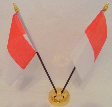Indonesische Flagge: Indonesien 2 Desktop Table-Display, Gold -