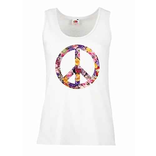 lepni.me Damen Tank-Top Friedenssymbol, 60er, 70er Jahre, Hippie, Friedenszeichen Blume, Sommer, Retro, Swag (XX-Large Weiß Mehrfarben) (Retro T-shirts 70er Jahre)