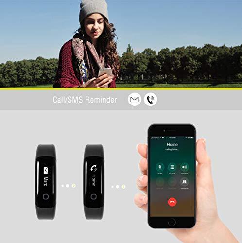 Sharon Fitnessarmband Herzfrequenzmesser Pulsuhr Aktivitäts-, Schlaf- und Fitness Tracker | instant Herzfrequenzmessung, Schrittzähler, Uhrzeitanzeige, Weckfunktion | 30 Tage Akkulaufzeit | saunafest, wasserdicht (IP68) |App für Android und iOS | integriert Apple Health,Google Fit | Anruf/SMS-Benachrichtigung | Apple iPhone 7 und 8, Samsung S7 und S8, Huawei, LG, Sony - 5