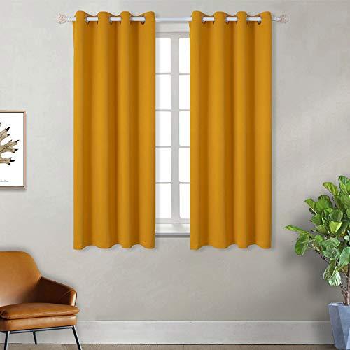 Tende oscuranti moderne per finestre camera da letto casa interni,2 panelli(117 x 137cm(l×a),giallo)