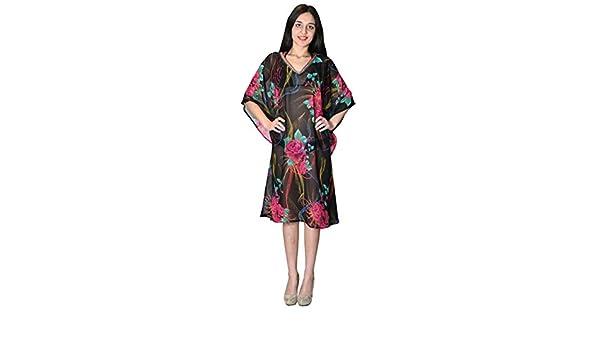 38b12ce2bf SUNROSE Hot Black Floral Printed Short Beach Kurta Cover Up Tunic Top Dress   Amazon.co.uk  Clothing