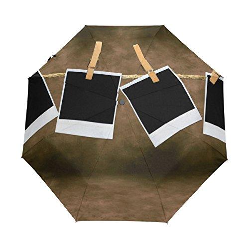 TIZORAX Leere Blanko Film Rahmen Hängen Winddicht Reise Regenschirm Golf Baldachin Auto Button Tri-Folded Regenschirm -