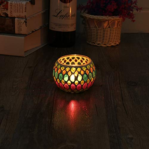 KING DO WAY Mosaic Glass Candle Holder Light Handle Tealight Candleholder Lantern Lamp Chimney Green Willow
