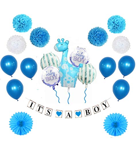 MW & P Babyparty Mädchen/ Junge - Babyshower - It's a Girl/ It's a Boy - Baby Party Dekoration - Deko - Baby Shower Set (Banner, Luftballons, Pom Poms) - 20 Teile (Junge)