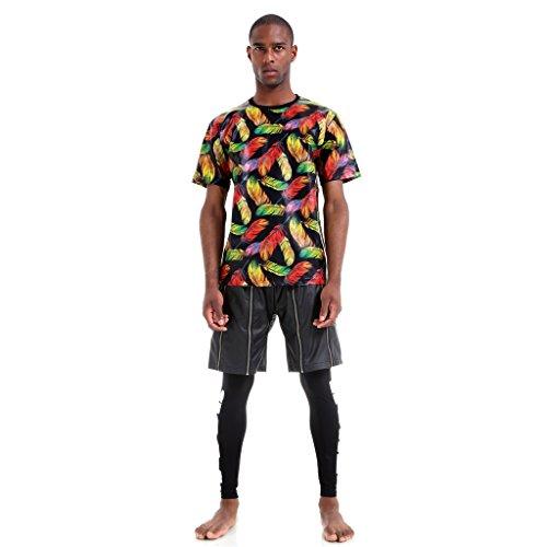 Pizoff Unisex Luxus Bunt Leder Dicke Warm T-Shirt mit 3D Digital Feder Muster P3616-Multi
