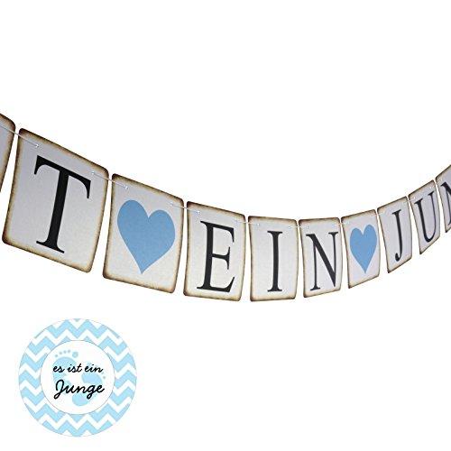 ES IST EIN JUNGE Girlande & Aufkleber - Dekoration Set Pinkelparty Babyshower Geburtstag Taufe Blau Rosa (Junge)