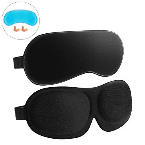 Frcolor Schlafmaske 2er-Pack, 3D-konturierte Augenmaske, Seide, zum Schlafen, verstellbar, weiche Augenabdeckung, Augenbinde, Augenschutz für Herren, Damen, Kinder
