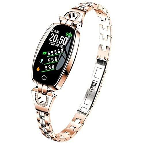 Tragbar Intelligentes weibliches Armband Miles-Activity Tracker Uhr mit Herzfrequenzmesser Kalorienzähler mit Tiefe wasserdicht (Color : Champagne) (Mile Tracker-armband)