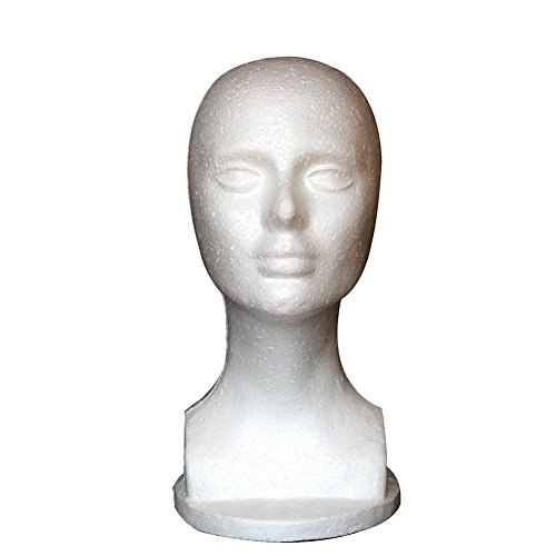 (DERKOLY Dummy Modell Köpfe, Weiblich Schaumstoff Head Modell Perücke Gläser Hut Haar Schmuck Display Ständer Modell Display Dummy Köpfe)