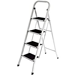 Home Discount® 4 Step Ladder, Heavy Duty Steel, Folding, Portable with Anti-Slip Mat