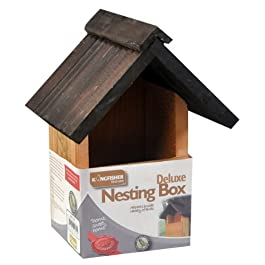 kingfisher Deluxe Wooden Nesting Box per Wild & Uccello da Appendere Nest Box New
