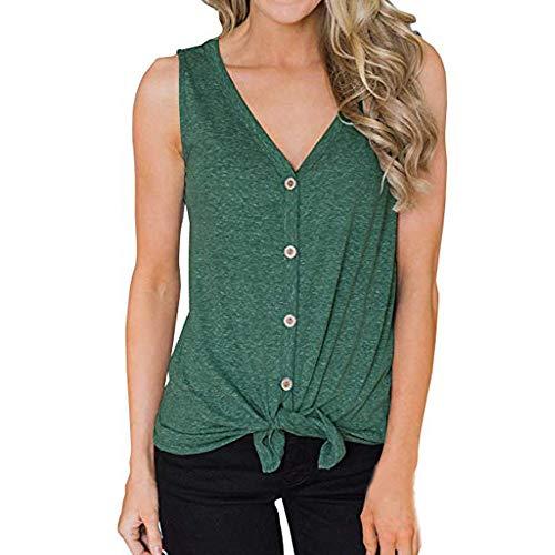 Lolamber Damen Einfarbig Button Oberteile T-Shirt,Sommer Sexy V-Ausschnitt Bluse Tank Tops Fashion Camisole Tops Ärmelloses Crop Tank -