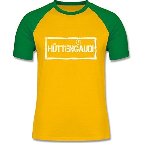 Après Ski - Hüttengaudi Used Look - zweifarbiges Baseballshirt für Männer Gelb/Grün