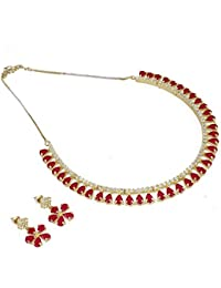 Aradhya Designer Sleek Party Wear Ruby Stone American Diamond Necklace Set With Earrings For Women And Girls