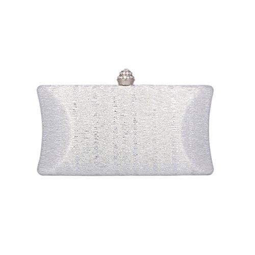 Day of Saturn Luxus Damen Schimmert Clutch Handtasche Mit Strass Schnalle Silber