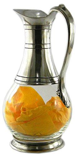 Weinkaraffe aus Glas und Zinn geblasen. von großer Bedeutung. durch italienische Handwerkskunst me.qualità gemacht (Italienische Zinn)