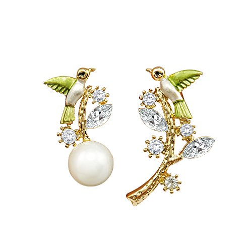 nia Kristall Simulierte Perle Kletterer Ohrklemmen Ohrringe Für Damen ()