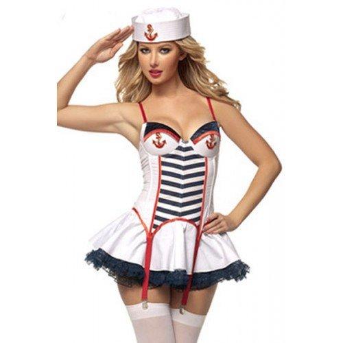 Damen Sexy Marineblau Pretty Matrose Hen Party Kostüm Kleid Outfit EU 41-43