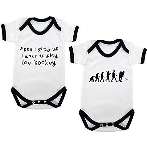 2-unidades de la evolución de Hockey sobre hielo y balón de When I Grow Up... De Hockey sobre hielo Designs mono con diseño de bebé negro contrastado y negro diseño de impresión