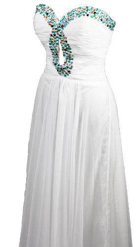 Robe de soirée mousseline avec décolleté en coeur Blanc