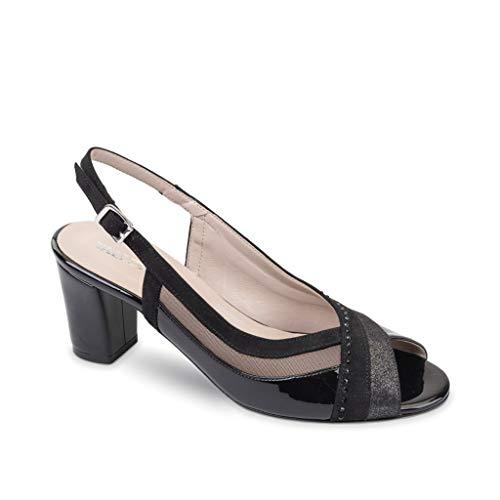 VALLEVERDE 45507 Sandalo Scarpe Tacco Pelle Donna Nero