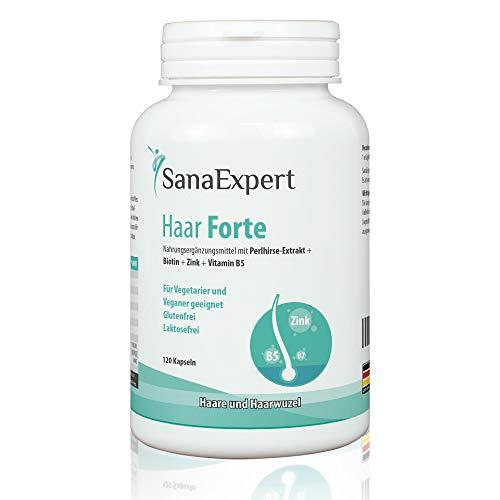 SanaExpert Haar Forte, Suplemento Capilar para el Crecimiento y Fortalecimiento del Pelo, Biotina, Zinc y Mijo de Perla, 120 Cápsulas