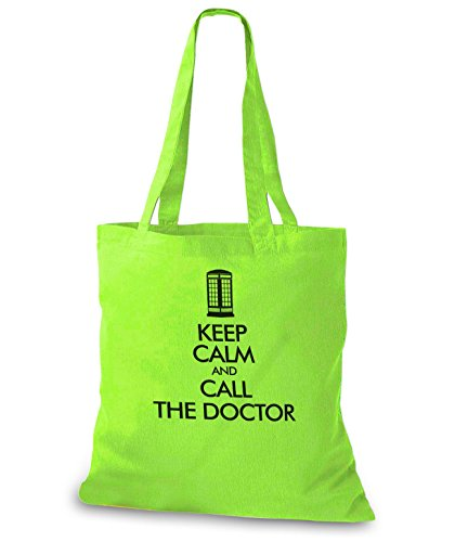 StyloBags Jutebeutel / Tasche Keep Calm and call the Doctor Lime