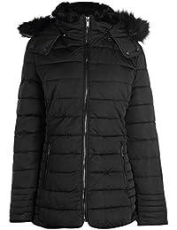 Firetrap Womens Lux Bubble Jacket Padded Coat Top Hooded Zip Full Warm Fur Trim