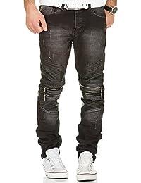 Redbridge by Cipo & Baxx Biker Jeans Herren Denim Hose Slim Fit Clubwear Vintage Destroyed Look Used
