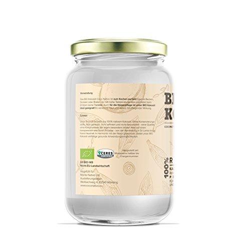Bio Kokosöl CocoNativo - 1000mL (1L) - Bio Kokosfett, Kokosnussöl, Premium, Nativ, Kaltgepresst, Rohkostqualität, Rein (1000ml) - zum Kochen, Braten und Backen, für Haare und Haut - 2
