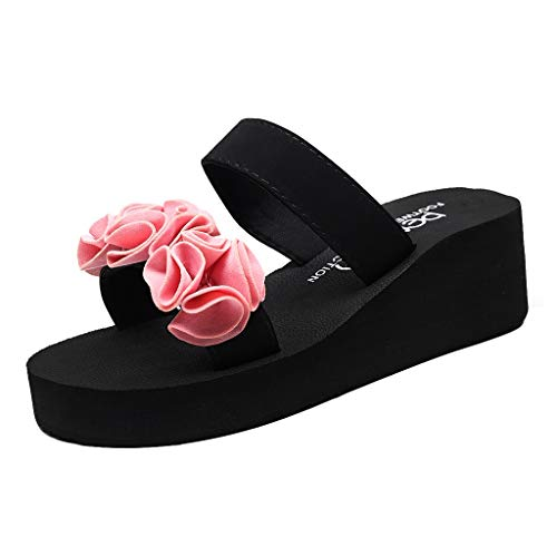 KonJin Women's Wedge Sandals,Fashion Slip-on Open Toe Wedges Heels Black Color Flower Slipper Casual Beach Shoes Plain Womens Ballet Flats