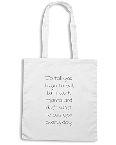 T-Shirtshock - Borsa Shopping TDM00103 i d tell you to go to hell Bianco