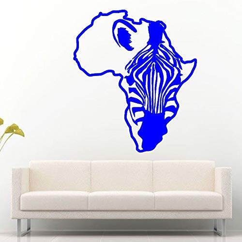 zqyjhkou Afrika Karte Kontinent Umriss Zebra Pferd Wandaufkleber Für Wohnzimmer Kinder Kindergarten Vinyl Tapete Wandbilder Aufkleber 5 57X63 cm
