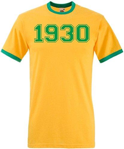 Dcg Printwear - Maglietta sportiva - Collo a U  -  uomo Sunflower & Green Ringer