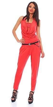 10434 Fashion4Young Damen ärmelloser Jumpsuit Overall Hosenanzug mit Spitze Gürtel Gr. 34/36/38 (One Size (34 36 38), Coral)