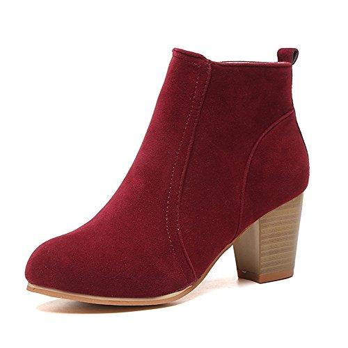 CUSTOME Femme Suede Boots Chaudes Chaussures Cheville Courte Bottes Martin Mode Talons hauts