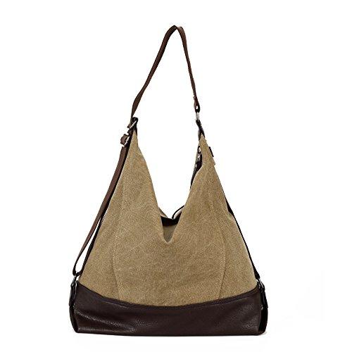 lkklily-single Shoulder Bag Handtasche Umhängetasche Kreuz Diagonal Tasche Leinwand Tasche Freizeit männlich Paket von Große Kapazität khaki