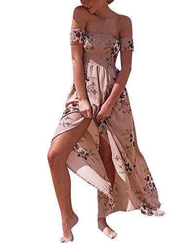 Damen Sommer Drucken Trägerlos Cocktail Party Long Beach Kleider Kurzarm  Gedruckt Aprikose