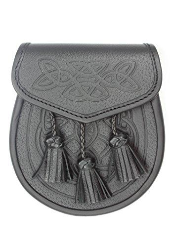 Kilt Society Celtic Embossed Black Leather Kilt Sporran